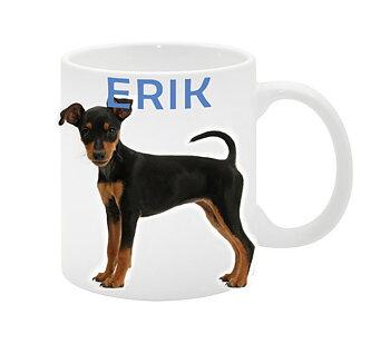 Dvärgpinscher söt hundvalp 1 eget namn egen design mugg
