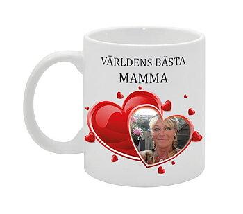 VÄRLDENS BÄSTA MAMMA MED HJÄRTAN EGEN DESIGN MUGG