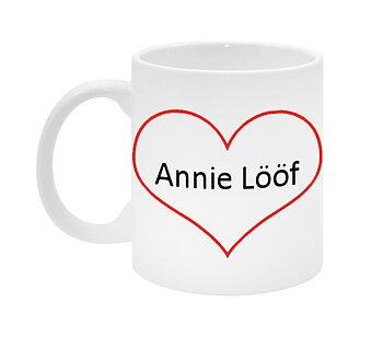 Annie Lööf hjärta mugg