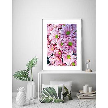 Rosa blommor ram 1 - poster