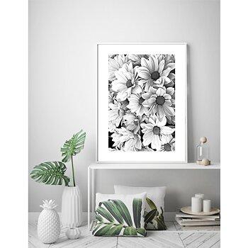 Rosa blommor ram 9 svart vit - poster