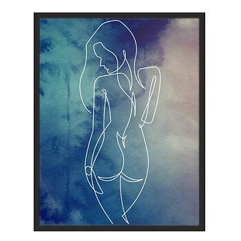 Line art med Kvinna framför en blå bakgrund