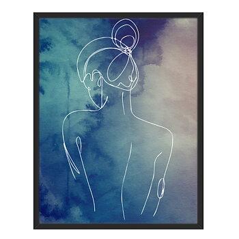 Line art med ryggen på en kvinna framför en blå bakgrund