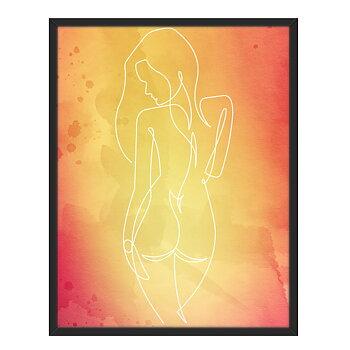 Line art med Kvinna framför en röd bakgrund