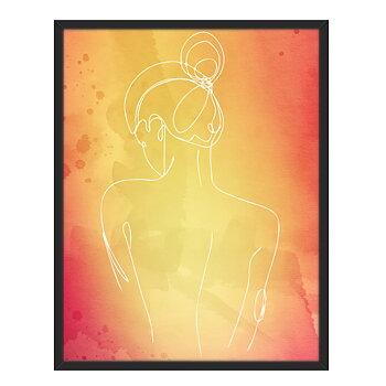Line art med ryggen på en kvinna framför en röd bakgrund