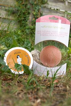 Paket för huden, Konjac-svamp med rosa lera & Hudkräm