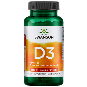 Swanson Vitamin D3 2000IU, 250 kapsl.