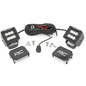 """ROUGH COUNTRY 2"""" SQUARE CREE LED LIGHTS FLOOD BEAM BLACK SERIES"""