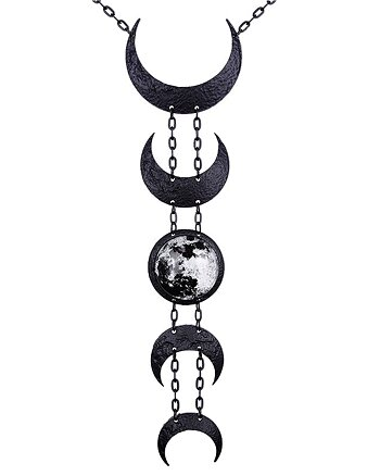 Black Lunar Phases - Necklace