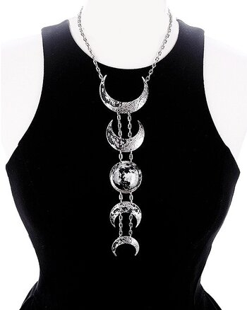 Silver Lunar Phases - Necklace