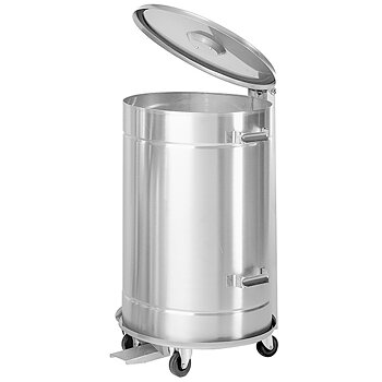 Soptunna - rostfritt stål på hjul, 50 liter