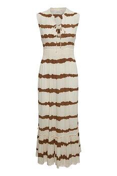 Cream Leigh Dress Dull Gold Tiedye Stripe