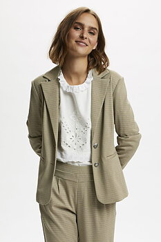Cream Anett Blazer Plain Taupe Gray Check