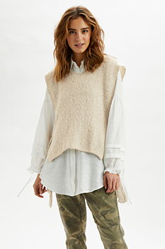 Cream Maggie Sleeveless Pullover Feather Gray