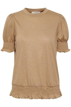 Cream Ivana Short Sleeve Jersey Blouse Winter Camel Melange