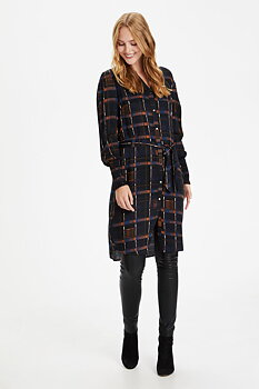 Culture Dorella Shirt Dress Black Blue Brown