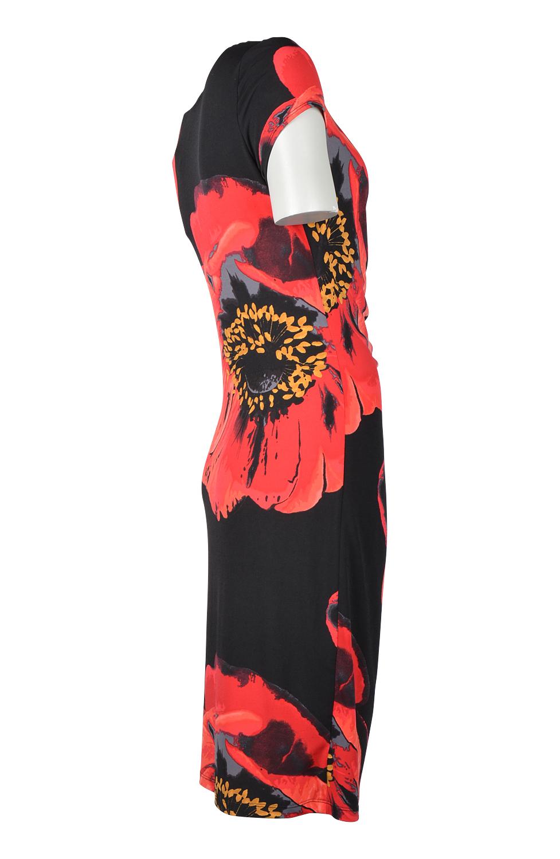 Klänning svart med röda blommor Jacobssons