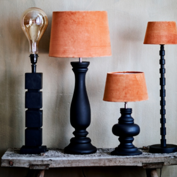 Lampskärm orange sammet - olika storlekar