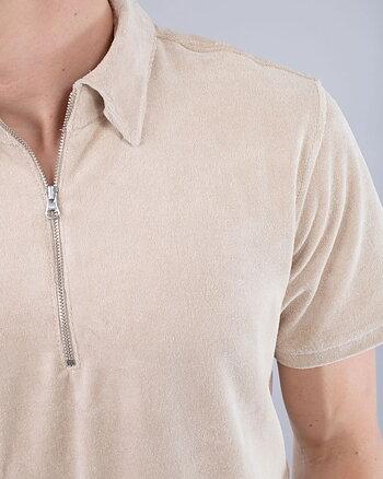 Cay Terry Half Zip Beige Skjorta