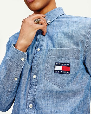 Chambray Badge Denim Skjorta