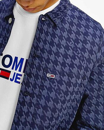 Houndstooth Print Marinblå Overshirt