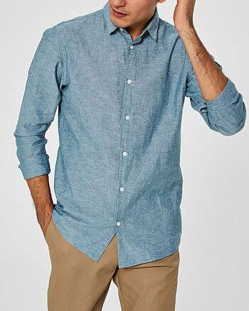 Slim Linen Ljusblå Skjorta