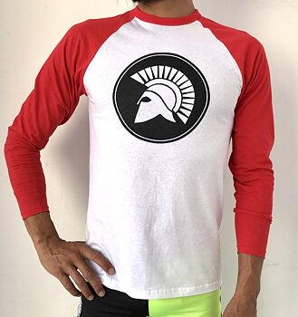 Mens raglan t-shirt long sleeve/Red