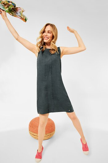 Linen Sleeveless Dress Slate Green - Cecil