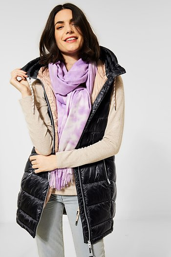Long Padded Vest Black - Cecil