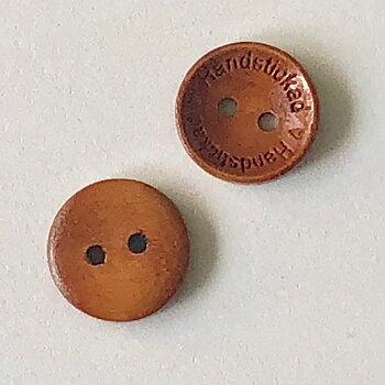 Knapp Handstickad - Cognac Trä 15mm