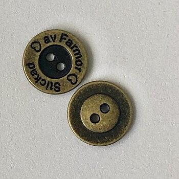 Knapp Stickad av Farmor - Antik Mässing Metall 15mm