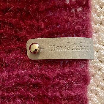 Lädermärke Handstickad - Ljusgrå 15mm