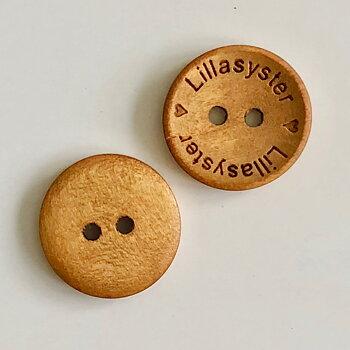 Knapp Lillasyster - Ljusbrun Trä 18mm