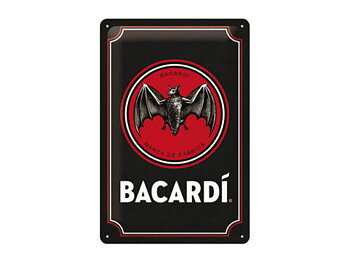 Nostalgi-Art Plåtskylt 20x30cm    Bacardi svart bakgrund