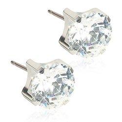 Blomdahl Silver Titanium ST TIFFANY 7 MM, CZ WHITE