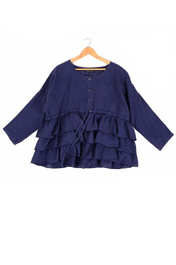 Blue navy  jacket with ruffles - Hanelle