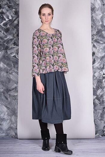 Grey Asphalt - linen skirt Faro