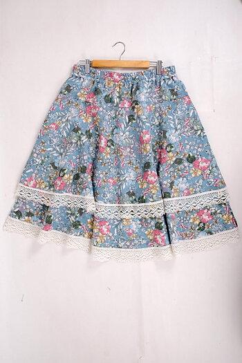Blue floral -- Odelia  - linen skirt