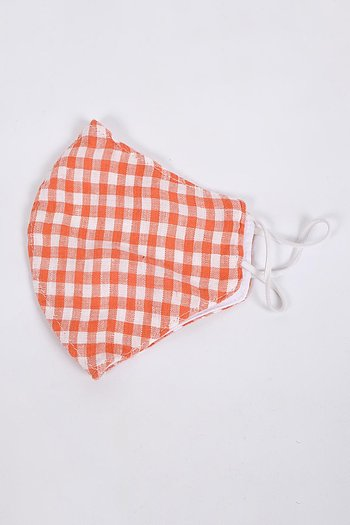 Face Mask - orange check