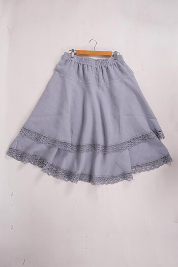 Blue grey -- Odelia  - linen skirt