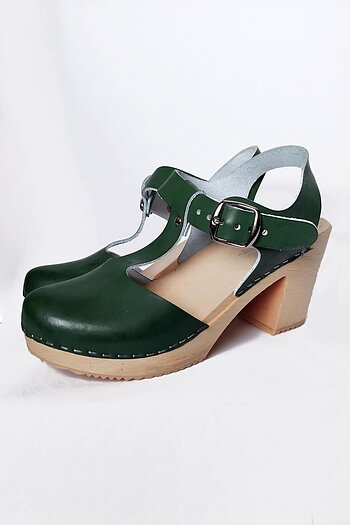 Green t-strap wooden sandals