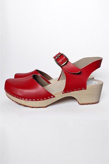 Rita - wooden sandals - red
