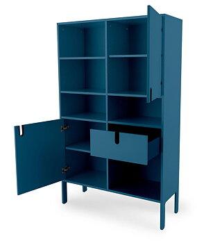 UNO Högskåp bred, Höjd 176 cm, Bredd 109 cm.  2 dörrar, 1 Låda, Blå. LAGERVARA
