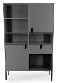 UNO Högskåp bred, Höjd 176 cm, Bredd 109 cm.  2 dörrar, 1 Låda, Grå. LAGERVARA