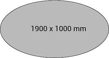 Konferensbord OVALT komplett.  Höj och sänkbart  Längd 1900x1000 mm - Vit, silver, svart & krom