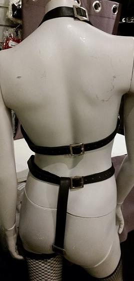 Läderharness Kropp med Halterneck, Svart