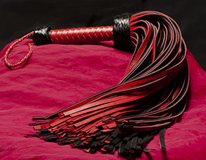 Leather Whip - 144-tailed Red/Black Genuine