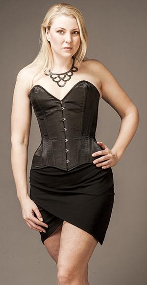 Overbust Black Satin (victorian style, wider hip)