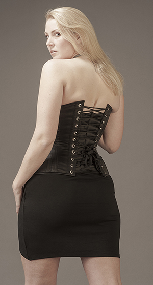 Overbust Svart Satin (viktoriansk modell, utställd höft)
