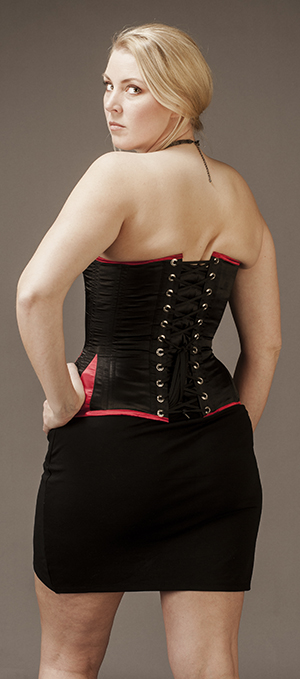 Overbust Black-Red Satin (victorian style, wider hip)